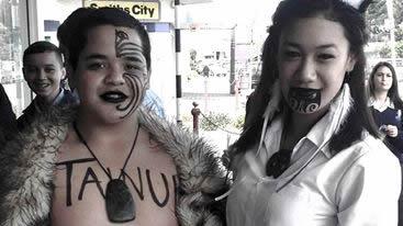 Westland High School Kapa Haka Kaea, Hector Tainui Jnr and Whakataerangi White.