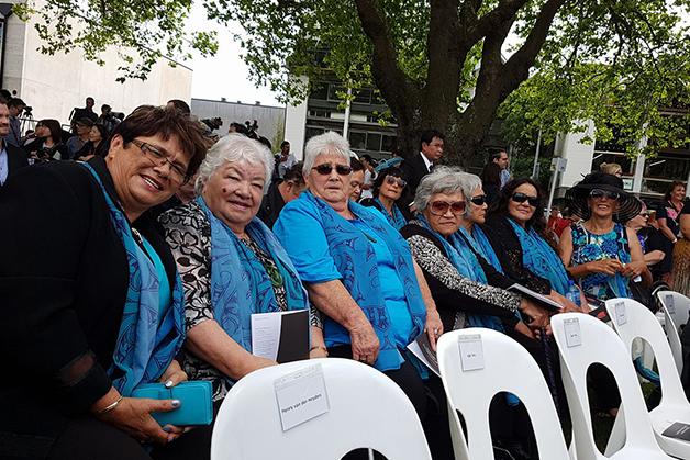 Whānau at the Christchurch Memorial.
