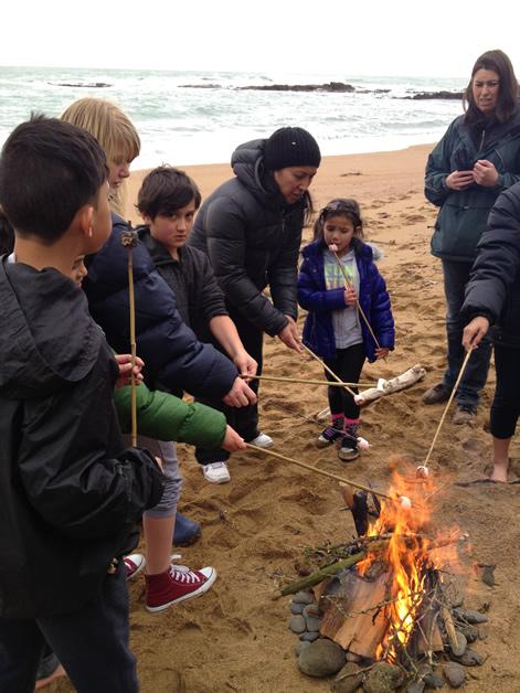 Whānau gather around a beach fire toasting marshmellows.