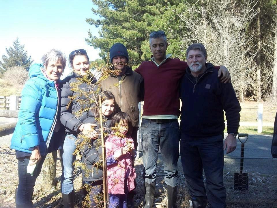 From left, Fern Whitau, Jodie Denton, Hone Stevens and moko, Waikawa and Alize, Hayden Pohio and Greg Brynes at Te Kōhaka o Tūhaitara.