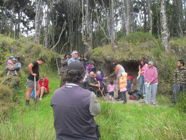 Whānau gather at entrance to our urupā at Taheke-a-kai.