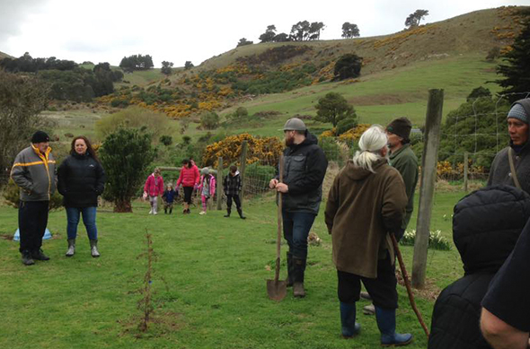 Whānau planting trees on Russell land.