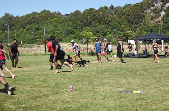 Whānau playing a game of touch.