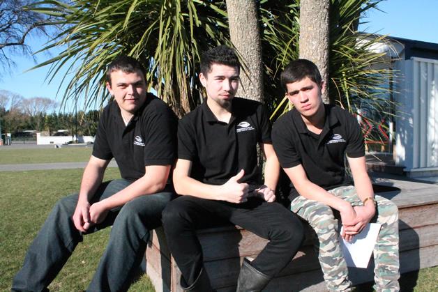 Whenua Kura students Papataitua Harrington (Ngāi Tahu, Ngāti Raukawa), Kea Maurice (Ngāi Tahu) and Shannon Jay (Ngāti Porou).