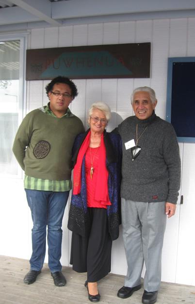 Whetu Moataane, Ngāi Tahu Iwi Communications Advisor, with Ngāi Tahu ki Tauranga Moana kaumātua Auntie Jan Kawe and Uncle Joe Briggs.