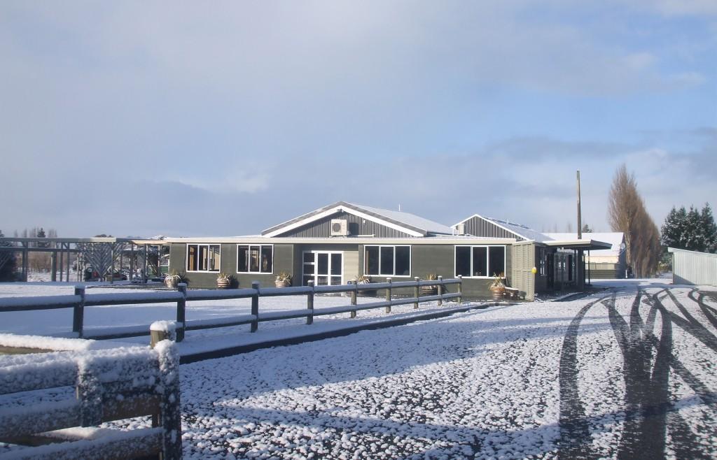 June snowfall at Hokonui Marae.