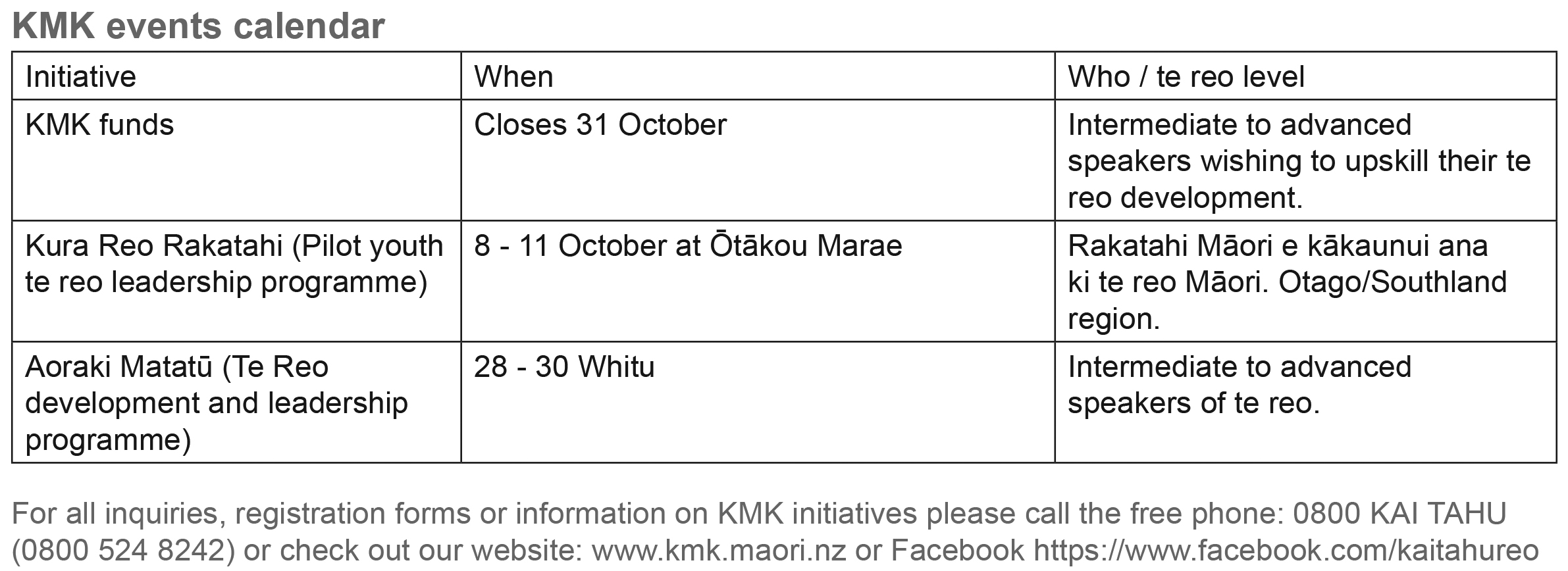 kmk Events Calendar Sept issue