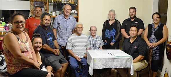Left to right: Awhina Thatcher, Michaela Kamo, Huey Ruhere, Jack Thatcher, John Good, Hohepaturanga Briggs, Laurie Loper, Adrienne Alton-Lee, Justin Tipa, Andre Konia (seated right), and Jacqui Poutu.
