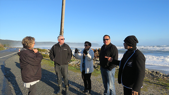 From left: Heather Manawatu, Paul Madgwick, Marie Mahuika-Forsyth, Maurice Manawatu and Jeff Mahuika standing in Mahitahi down from Te Tauraka Waka a Māui Marae.