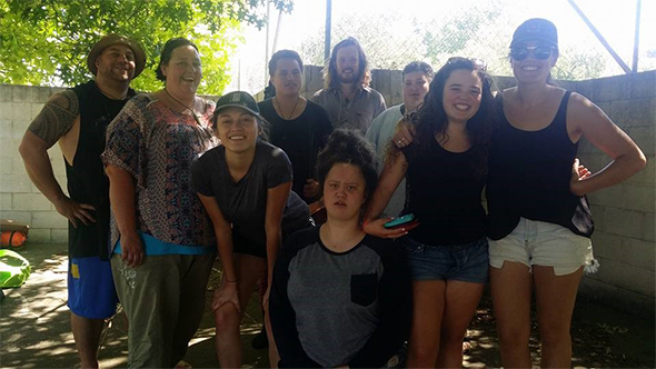The Ōtepoti crew at Te Tai Timu Trust's school holiday programme in Hastings. From left, Dan Wallwork, Aroha Ellison, Sam Feeney, Whaipono Herewini, Tom McFarlane, Liam Ellison, Te Anihana Anderson, Chanel Phillips. Front, Te Anahera Parata.